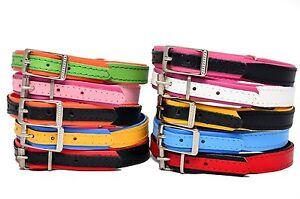 FATTO-A-MANO-IN-PELLE-collare-per-cane-cucciolo-DOPPIO-colore-rosso-nero-rosa