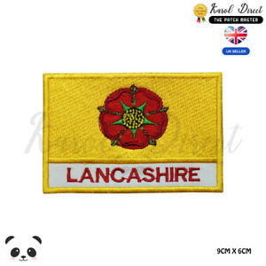 LANCASHIRE-England-County-Flag-With-Name-Embroidered-Iron-On-Sew-On-Patch-Badge