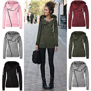 Women-Casual-Hoody-Hoodie-Sweater-Hooded-Sweatshirt-Pullover-Zip-Up-Jumper-Coats