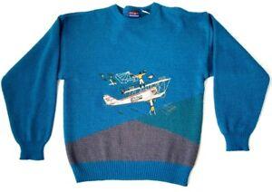 Details about vtg BARN STORM PLANE Sweater Aviation Barnstormers Men's  LARGE L Buckingham 90s