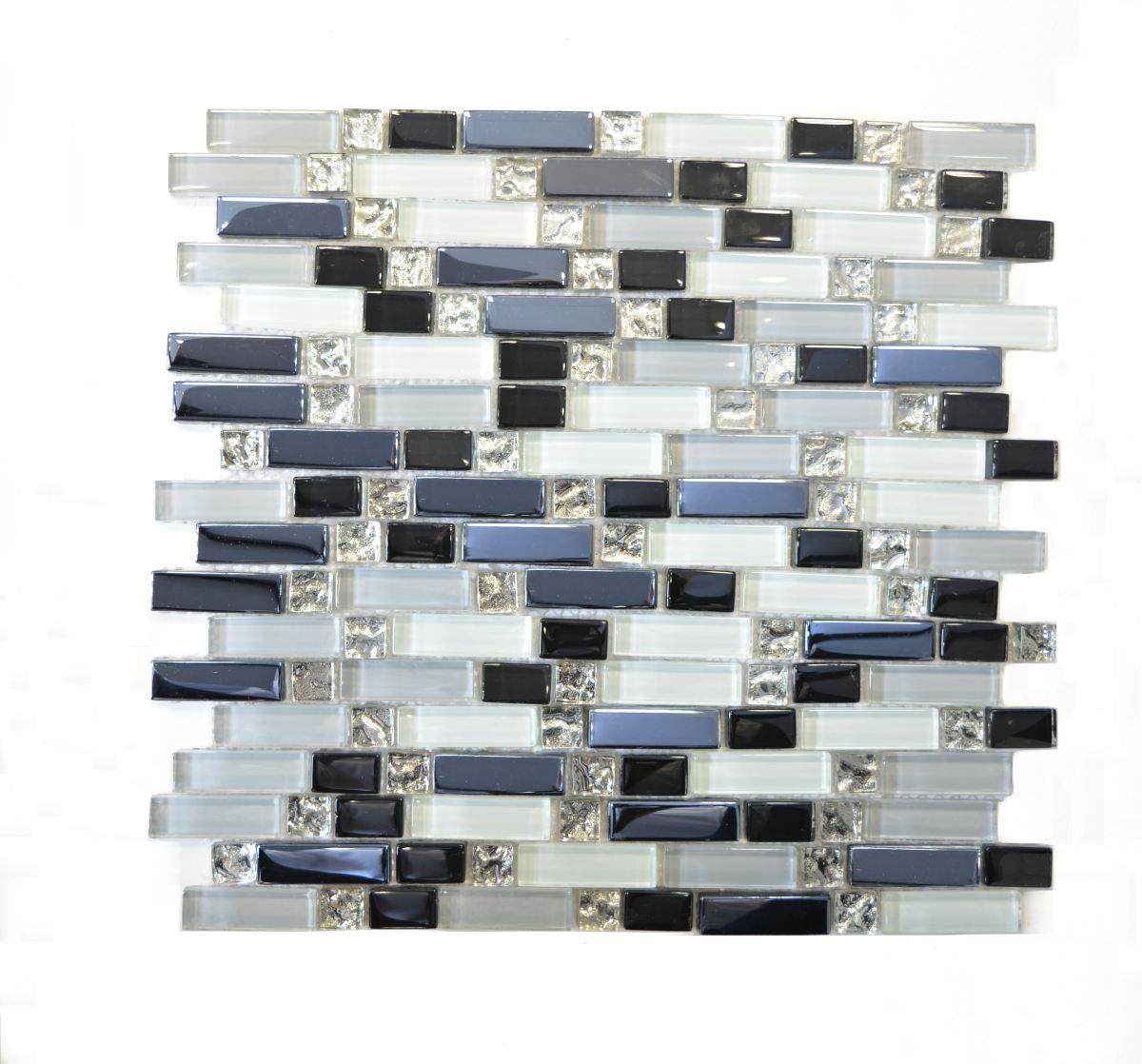 Mosaik Fliese Transluzent weiß grau schwarz Verbund 87-IL007_f 10 Matten
