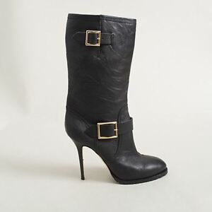 f94f1bd7cb44 Image is loading Jimmy-Choo-Leather-Motorcycle-Galen-Stiletto-Boots-Size-