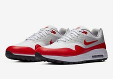 NIKE AIR MAX 1 QS WHITE SPORT RED NEUTRAL GREY BLACK SZ 9