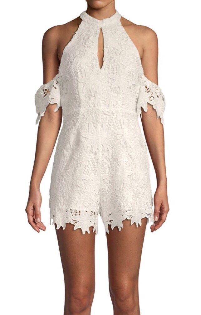 Astr the label lolita lace romper, White, Size S