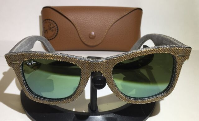 8b83b9988f RAY-BAN RB2140 1191 2X 50mm BROWN DENIM WAYFARER GREEN MIRROR SUNGLASSES- W