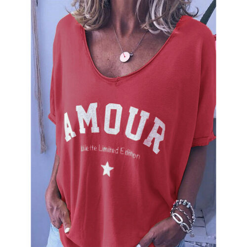 AMOUR Loose T Shirt Ladies Summer Baggy Tops Blouse Womens Plus Size 6-22