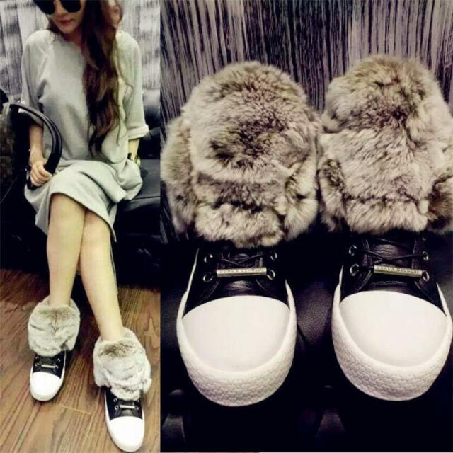 H Womens Luxurious Big Rabbit Fur Shoes Fashion Leather Sneakers Oxfords Winter