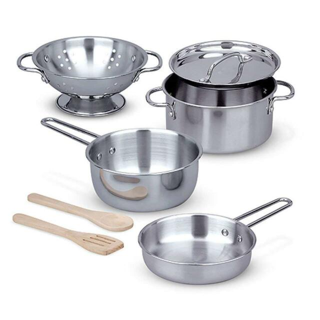 Melissa Doug Stainless Steel Pots And Pans Pretend Play Kitchen