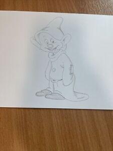 Disney Art Dopey Snow White and the seven dwarfs Drawing Sketch Original artwork