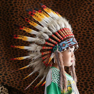 Image is loading KIDS-INDIAN-HEADDRESS-65CM-COLORFUL-FEATHERS-Chief -American- & KIDS INDIAN HEADDRESS 65CM COLORFUL FEATHERS Chief American Costume ...