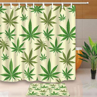 Cannabis marijuana leafs Shower Curtain Bathroom Waterproof Fabric /& 12hooks
