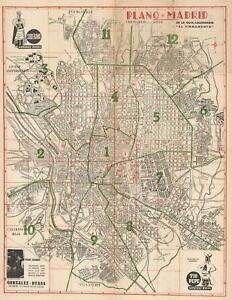 1950 El Firmamento City Map Or Plan Of Madrid Spain Ebay