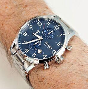 Hugo-Boss-1513183-chronograph-Herrenuhr-silber-blau-neu