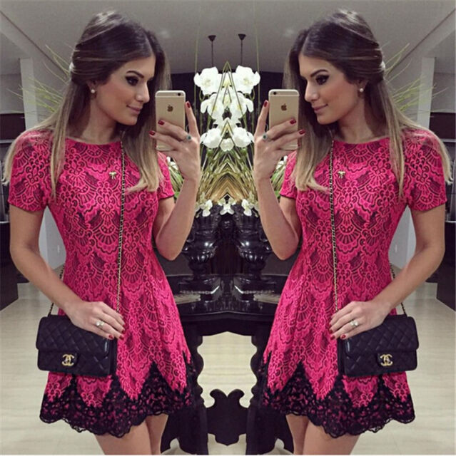 2015 Women Casual Lace Mini Dress Short Sleeve Vestido Cocktail Party Evening