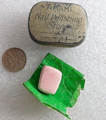 "Amami nail polishing stone vintage manicure vanity grooming equipment 1.5"" tin"