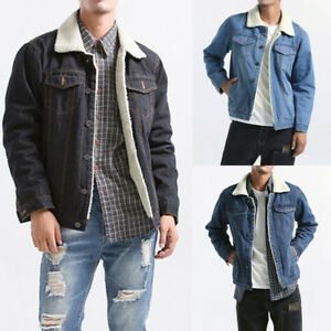 Men Fleece Wool Lined Sherpa Denim Jacket Winter Trucker Coat Top Jean Plus Size