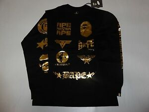 3f30f7a59 9991 bape x dover black icon foil print long sleeve black/gold tee M ...