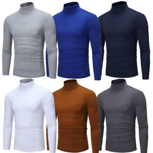 Mens-Thermal-Cotton-Turtle-Neck-Skivvy-Turtleneck-Sweaters-Stretch-Shirt-Tops