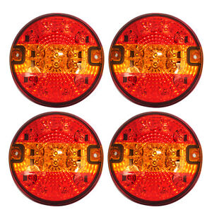 12x Neon Red LED 24V Rear Tail Side Marker Lights Lamps For Man Daf Scania Volvo