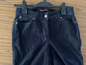 M-amp-S-WOMENS-NAVY-BLUE-CORDUROY-RIBBED-CASUAL-BUTTON-FLY-TROUSER-JEANS-10-UK-SHORT