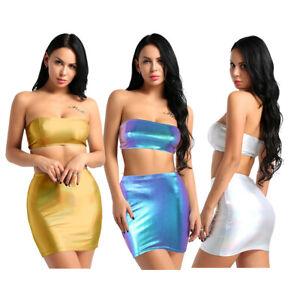 Women-2-Piece-Bodycon-Two-Piece-Crop-Top-Blouse-Skirt-Set-Leather-Dress-Party