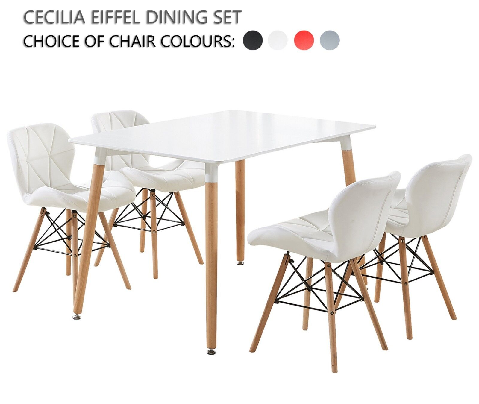 Amazing Details About Cecilia Eiffel Dining Set 4 X Cecilia Padded Chairs White Halo Dining Table Machost Co Dining Chair Design Ideas Machostcouk