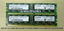 2GB (2 x 1GB) 184-PIN DDR PC2700 333MHz CL2.5 NON-ECC DIMM FOR DELL, HP, IBM ...