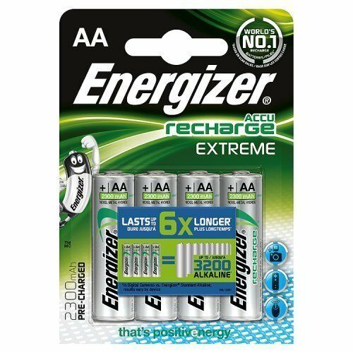 Energizer Rechargeable Batteries 4x Recharge EXTREME AA 2300mAh Battery