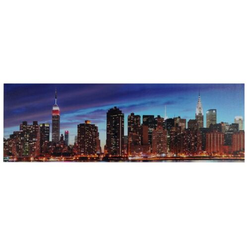 Leinwandbild Timer 120x40cm New York flackernd LED-Bild mit Beleuchtung