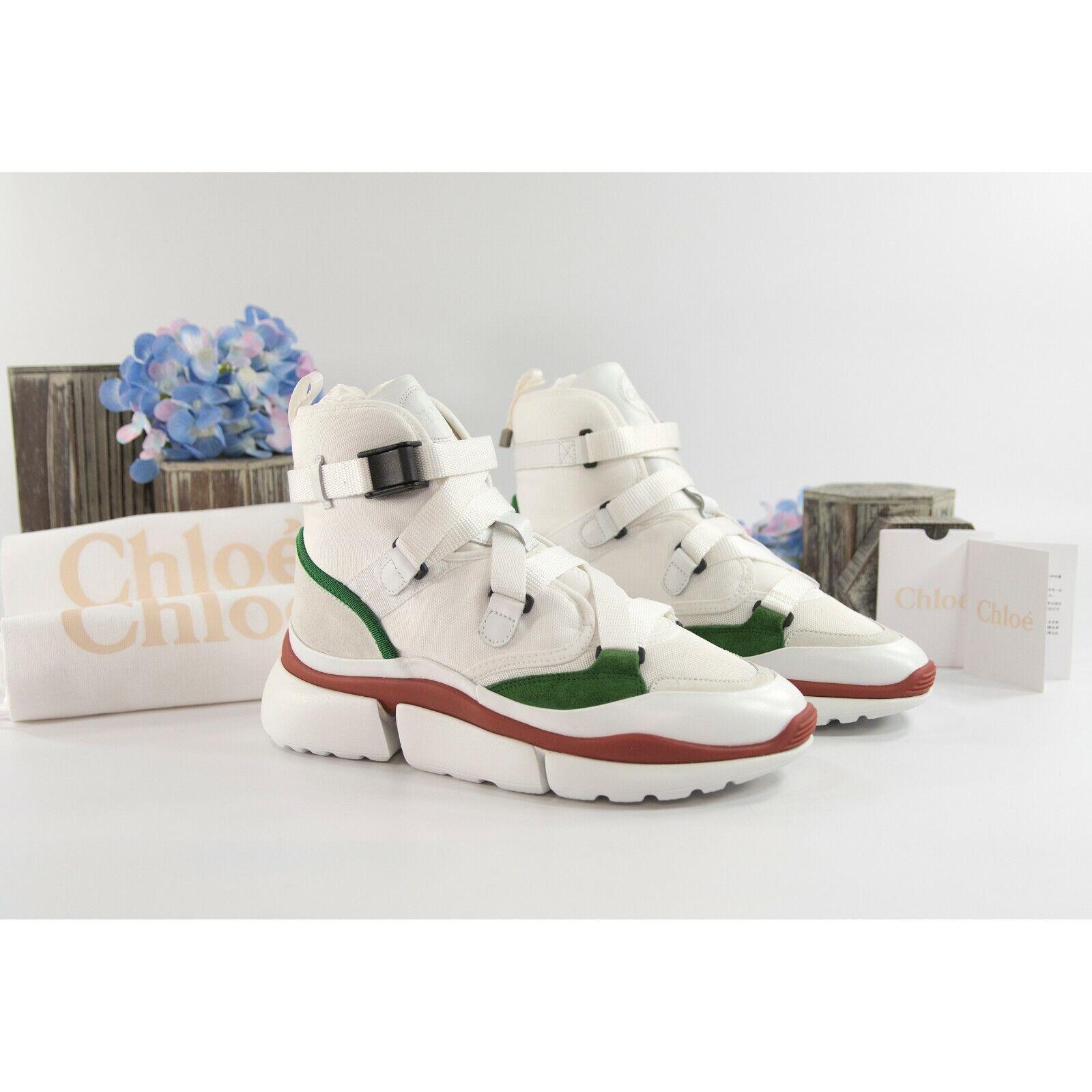 Chloe Sonnie blanc jungle vert tissu en cuir High Top Sneakers Taille 38 Neuf dans sa boîte