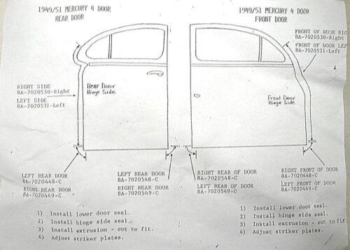 1949 1950 1951 49 50 51 Mercury 4 Door Limousine Tür Dichtungen Neu