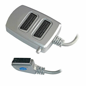 2 Two Way Scart Splitter Switch Box AV Adaptor 2 Devices into 1 TV