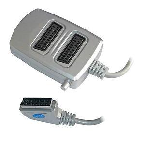 2 Two Way Scart Splitter Switch Box AV Adaptor 2 Devices into 1 TV