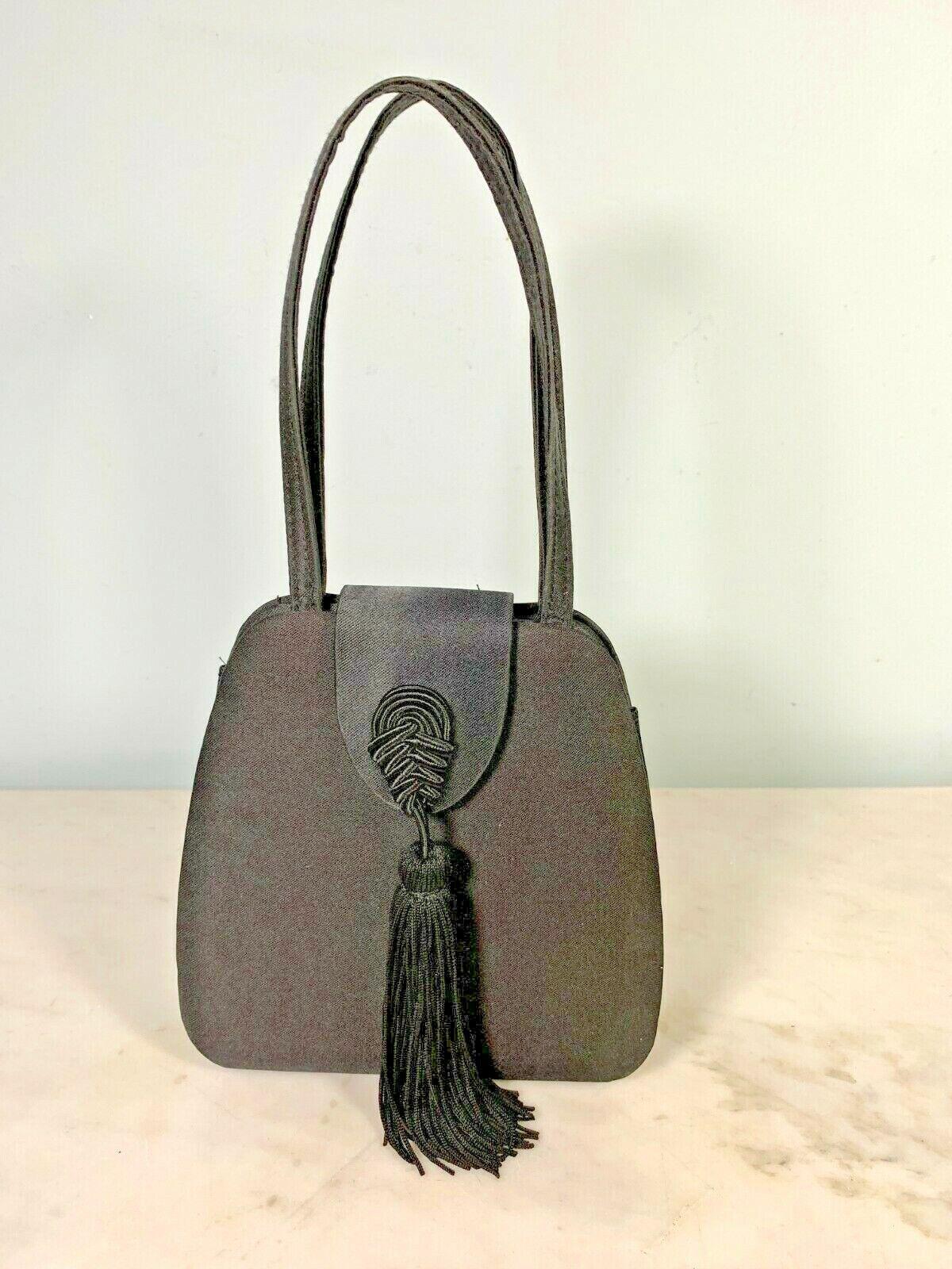 Vintage black satin double top handled evening purse large front tassel ornament