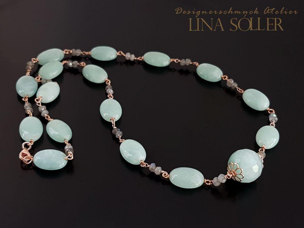 Lina Sóller 925 silver- pinkgold, Halskette mit Amazonit, Handarbeit 1759