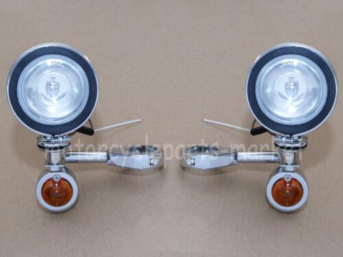 Chrome Front Fog Light /& Metal Turn Signal Lights 39mm Lighting Kits For Harley