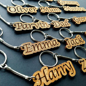 Personalised  Keyring Name Gift Wooden Keychain Novelty Name Tag Christmas