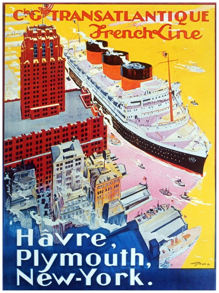4821.Cie.Gte.Transatlantique French Line.steamship..POSTER cor Home Office art