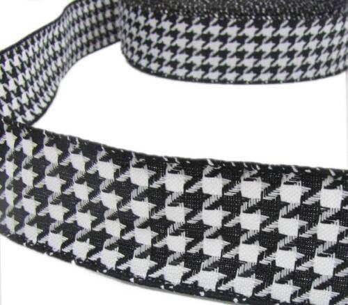 "5 Yds Black White Houndstooth Herringbone Woven Wired Ribbon 1 1//2/""W"