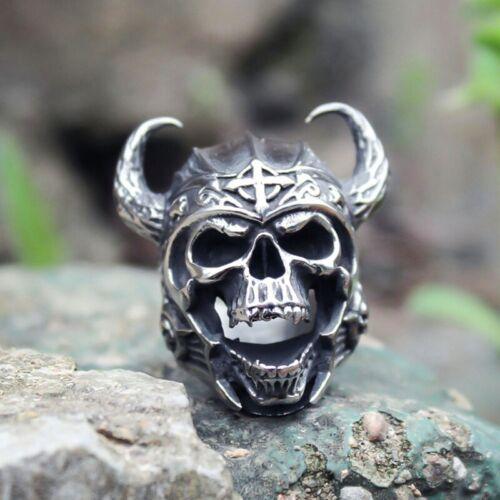 Herren Punk Viking Warrior Totenkopf Ringe flYfE iGRYp eNwrg Ksy
