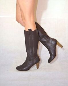 Women Brown Knee High Boots Block Heel Real Leather Wide Calf M S
