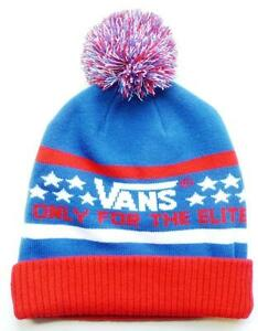 fce91b4b22b03b Vans Off The Wall Elite Pom Cuff Beanie Red White Blue Mens Cap Hat ...