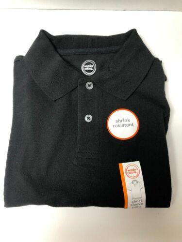 Wonder Nation XL Husky Boys Black Short Sleeve 2 Button Collar Pique Shirt