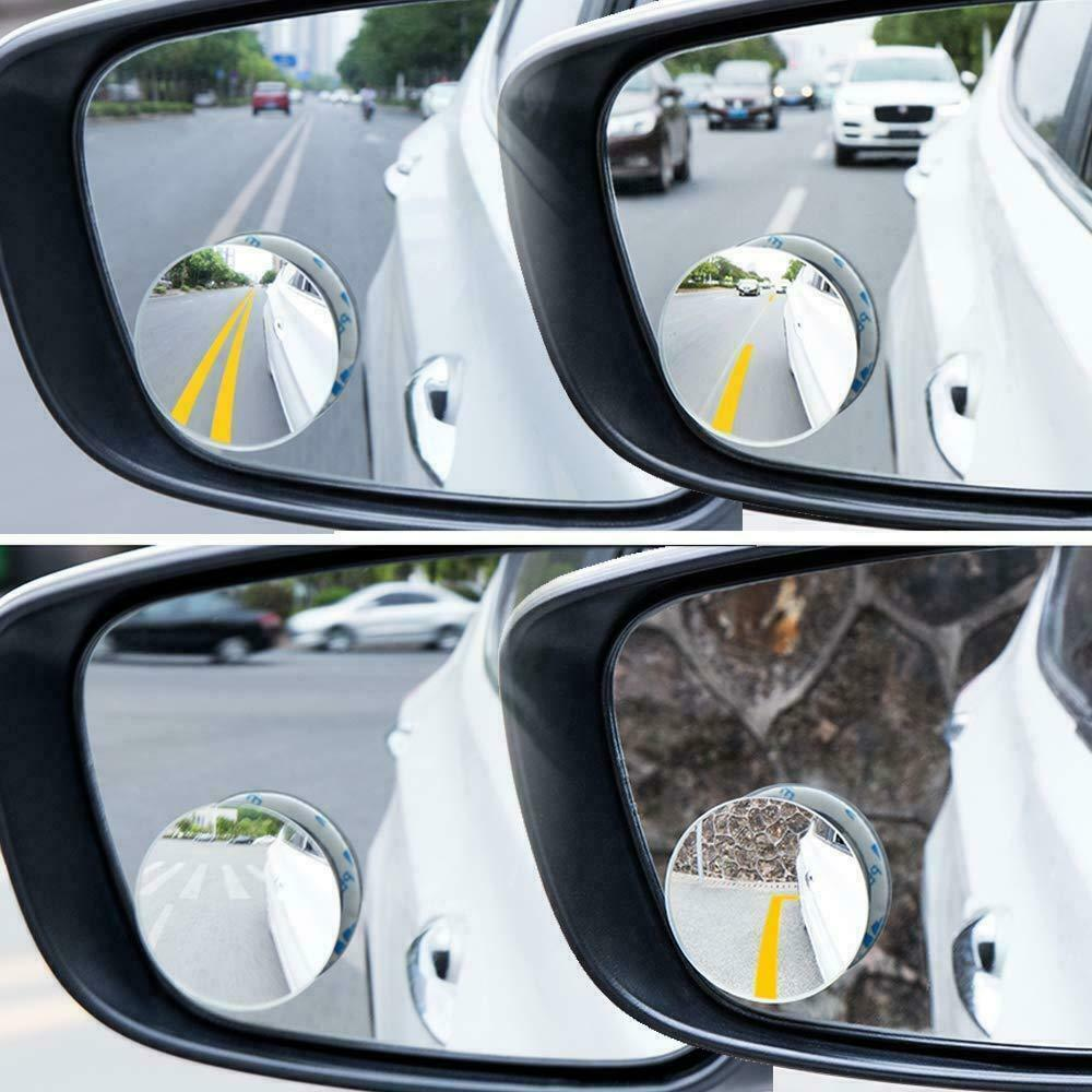 US Stock 2 Pcs Round Blind Spot Mirror HD Glass Frameles Car Side Wide Rear View