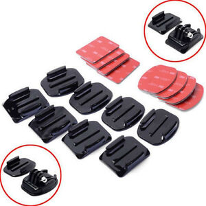 8Pcs Flat Curved Adhesive Mount Base Helmet Accessories For Gopro Hero 1/2/3 /3+