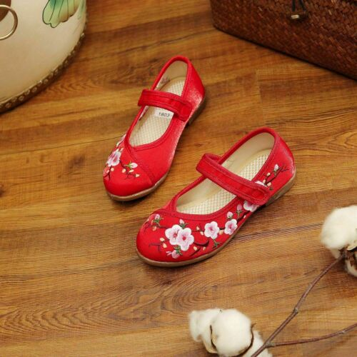 Kid Single Shoes Girls Embroidered Cheongsam Sandals Low Heel Shallow Mouth Shoe