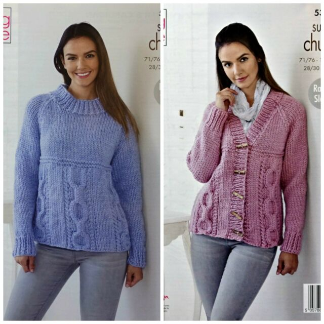 139a35e11 Knitting Pattern Womens Cable Jumper and Cardigan Super Chunky King ...