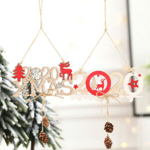 New Home Ornament 2020.Details About 1pc 2020 Xmas Wooden Ornament Christmas Decoration Pendant New Year Home Decorus