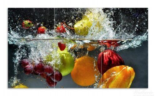 Früchte Wasser Wallario Herdabdeckplatte 3-teilig aus Glas 90x52cm