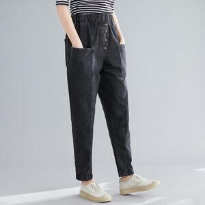 Womens-Harem-Jeans-Denim-Pants-Loose-Trousers-Casual-Elastic-Waist-Baggy-Pocket
